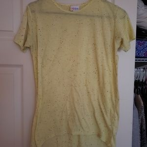 LuLaRoe Yellow Speckled Shirt